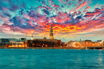 Photo sur Plexiglas Europe du Nord Riga sunset, Latvia