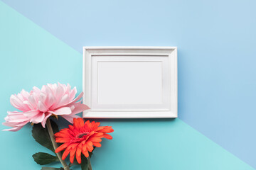 Picture frame with colorful flower.background design decoration.