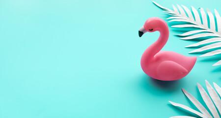 Flamingo bird mock up with leaf on color background