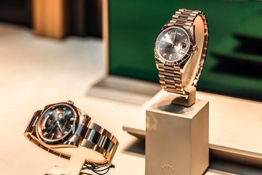 BARCELONA, SPAIN - JUNE 06, 2019: Rolex Luxury Watches For Sale In Shop Window Display