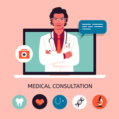 A young doctor in the laptop screen. Online medical consultation and support. Concept vector illustration in flat style with icons.