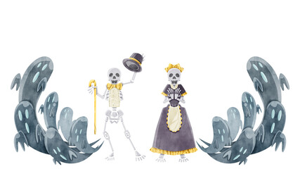 Foto auf Acrylglas Aquarell Schädel お化けと骸骨の水彩イラスト