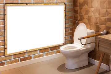 Photo frame mockup in the restroom with flush toilet.