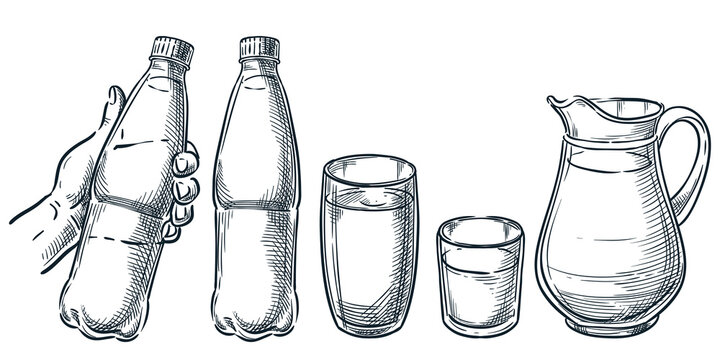 Hand holding plastic bottle with water. Pure mineral drinking water in glass cup and jug. Vector sketch illustration
