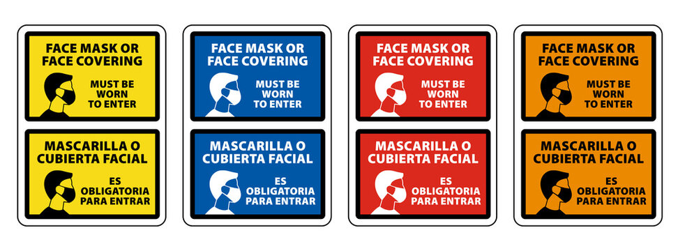 Bilingual (English/Spanish) Face Mask or Face Covering Must be Worn to Enter. face mask required sign vector sign collection set eps10