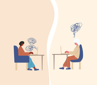 Psychological help online. Counseling concept. Internet therapy session with stressed patient. Psychiatrist and client talking about feeling.  Couch listening sad woman. Vecotor illustration.