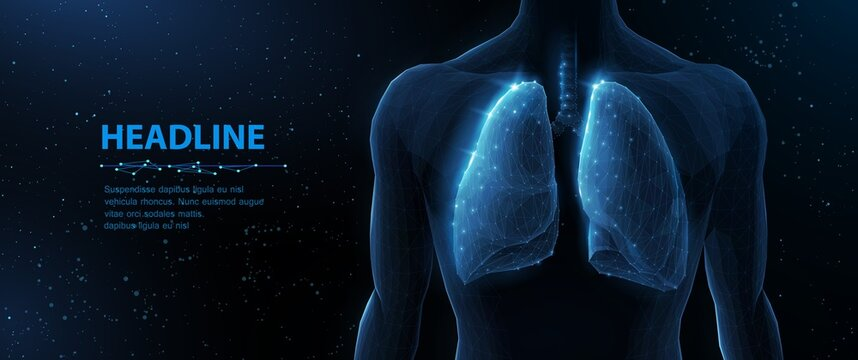 Lung and human body. Abstract vector 3d lungs on body background. Human health, respiratory system, pneumonia illness, biology science, smoker asthma, healthcare concept.