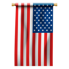 Flag of the United States of America on gold flagpole, holder. USA national vertical symbol.