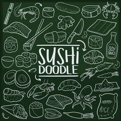 Sushi Japan Food Doodle Line Icon Chalkboard Sketch Hand Made Vector Art.