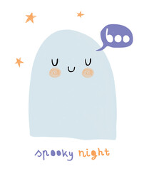 Happy Halloween. Spooky Night. Funny Hand Drawn Halloween Vector Illustration with Sweet Blue Ghost  and Stars. Cute Ghost Isolated on a White Background. Halloween Card.