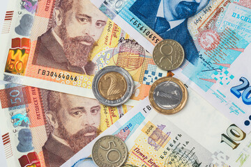 Money of Bulgaria. Bulgarian banknotes and coins background