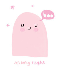 Happy Halloween. Spooky Night. Funny Hand Drawn Halloween Vector Illustration with Sweet Pink Ghost  and Stars. Cute Ghost Isolated on a White Background. Halloween Card.
