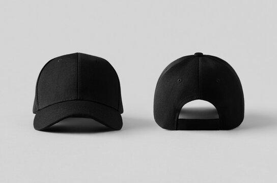 Black baseball caps mockup on a grey background, front and back side.