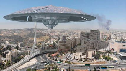 Alien ufo Invasion Saucers over Large City,Jerusalem 3d Illustration Jerusalem, Israel, Drone view with visual effect Elements