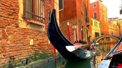 Foto op Canvas Gondolas A photo of a traditional gondola in Venice in Italy