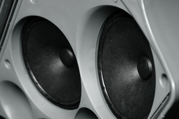 Stereo column of modern audio system close up