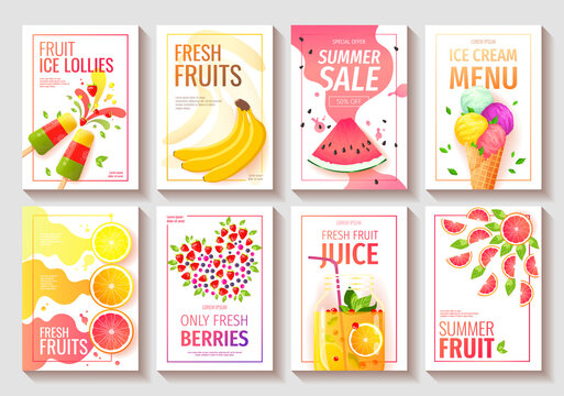 Set of Flyer with fresh fruits and berries. Watermelon, Orange, Grapefruit, Lemon, Bananas, Fruit juice, Ice lollies, Ice cream cone. Vector illustration for summer sale, menu, poster, banner, flyer.