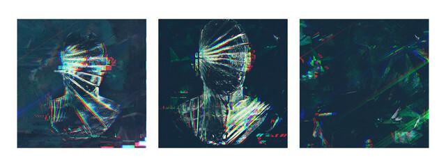 Obraz Conceptual Ice 3d Character for Social Media. 3d Render - fototapety do salonu