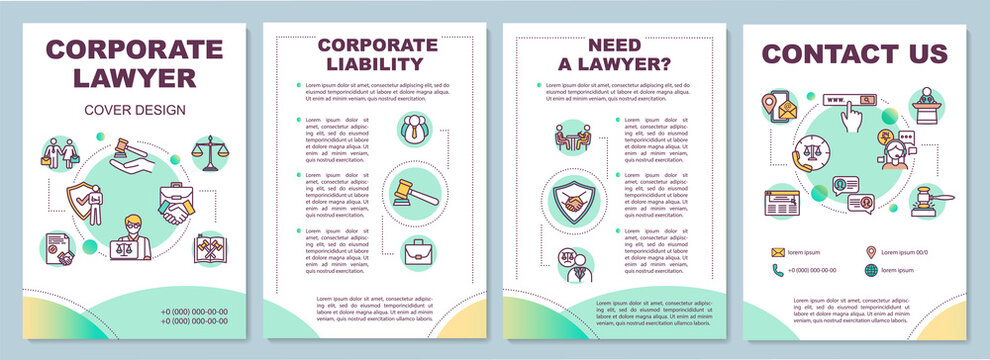 Corporate lawyer brochure template. Online attorney service. Flyer, booklet, leaflet print, cover design with linear icons. Vector layouts for magazines, annual reports, advertising posters