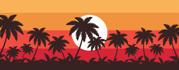 tropical beach with palm trees at the sunset vector illustration
