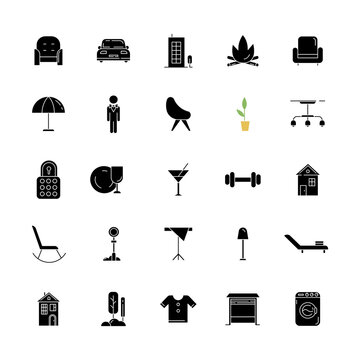 Apartment amenities black glyph icons set on white space. Comfort living. House furniture and lighting. Condo building. Hotel manager. Laundry service. Silhouette symbols. Vector isolated illustration