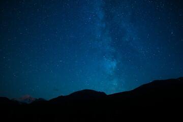 Mountain Silhouette Under Summer Stars Night Sky