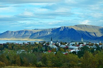 Iceland-outlook of the city Reykjavik and its surrounding