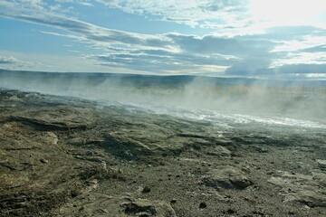 Iceland-view of Haukadalur geothermal field near geyser Strokkur