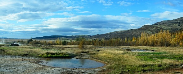 Iceland-panoramic view of nature near the Strokkur Geyser