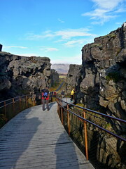 Iceland-view of path in Thingvellir National Park