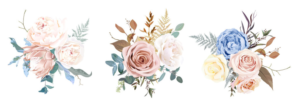 Desert dusty brown and yellow rose, beige peony, pastel pink protea, blue ranunculus