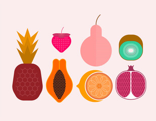 Photo Blinds Abstract Art Set of ripe tropical fruits isolated on a light background, vector illustration. Strawberry, pineapple, pear, kiwi, pomegranate, citrus, papaya.