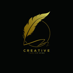 feather pen logo gold with circle line vector design template
