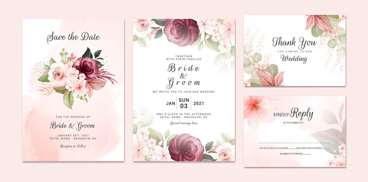 Foliage wedding invitation template set with burgundy and brown watercolor floral bouquet and border decoration. Botanic card design concept