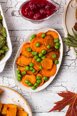 Glazed roasted carrot with peas