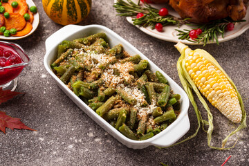 Green beans casserole with bread crumbs