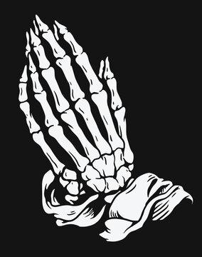 Praying skeleton hands vector illustration