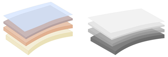 Obraz Simple four layers or fabric diagram. Various thickness, colors and gray version, top layer opaque, sheets are slightly bent - fototapety do salonu