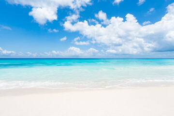 Wall Mural - Tropical beach in the South Sea with turquoise water and white sand