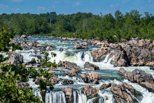 Jagged rocks, breathtaking views,  and the dangerous white waters of the Potomac River at the Great Falls Park in McLean, Fairfax County, Virginia.