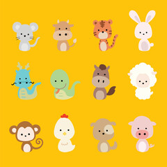 Digital hand drawn illustration collection of 12 animals Chinese zodiac signs. Vector clipart of various kinds of animals.