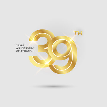 39th 3D gold anniversary logo isolated on elegant background, vector design for celebration purpose
