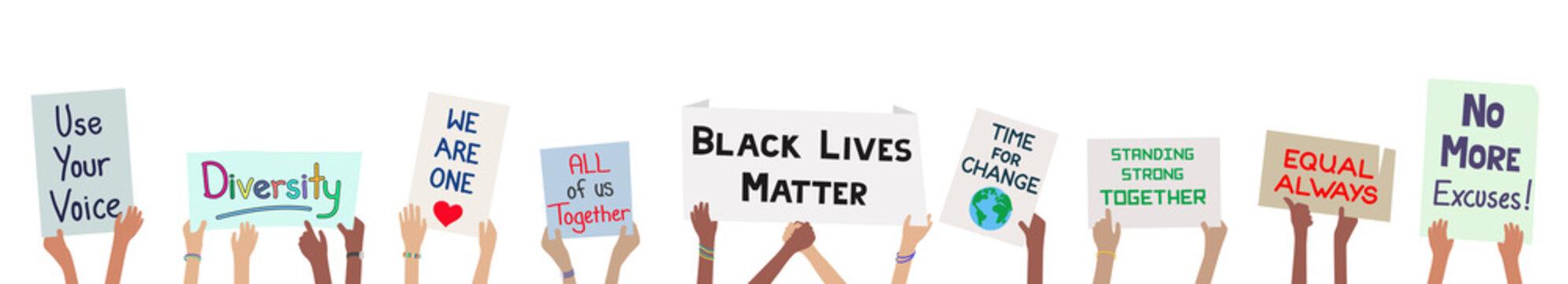 Black lives matter children holding signs to protest for justice banner