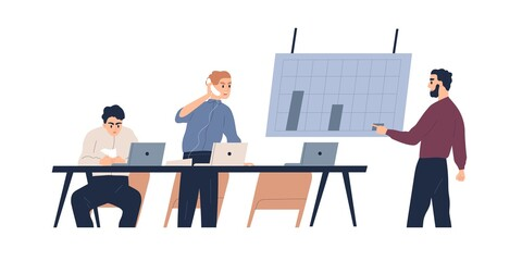 Team of male coworkers discuss graph of company bankruptcy vector flat illustration. Man boss shouting on phone to not motivated employees isolated on white. Profit drop, financial crisis or collapse