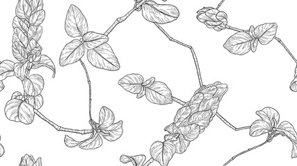 Floral seamless pattern, vintage leaves and flowers line art ink drawing in black and white