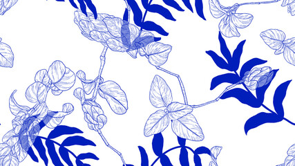 Floral seamless pattern, vintage leaves and flowers line art ink drawing in blue on white