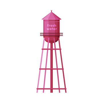 Fresh Water Industrial Construction, Pink Tower, Liquid Storage Tank, Countryside Life Object Flat Vector Illustration on White Background