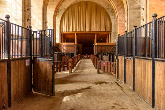 CHANTILLY, FRANCE  - APRIL 2, 2018: Interior of the Grand Stable of the Chantilly Castle in France