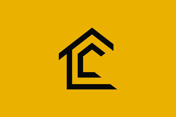 Logo design of L LC CL in vector for construction, home, real estate, building, property. Minimal awesome trendy professional logo design template on black background.
