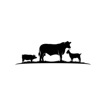 Cattle Angus Cow, Goat and Pig silhouettes livestock farm logo design